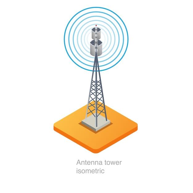 Isometrische ikone 3d des antennenmastes Premium Vektoren