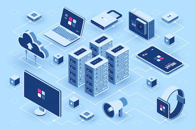 Isometrische ikone der computertechnologie, serverraum, satz des digitalen gerätes, element für design, pc-laptop Kostenlosen Vektoren