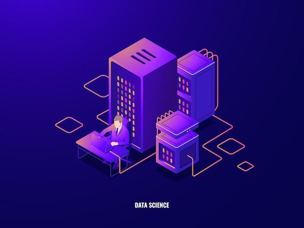 Isometrische ikone der datenrecherche, informationsanalyse und verarbeitung großer daten, künstliche intelligenz Kostenlosen Vektoren