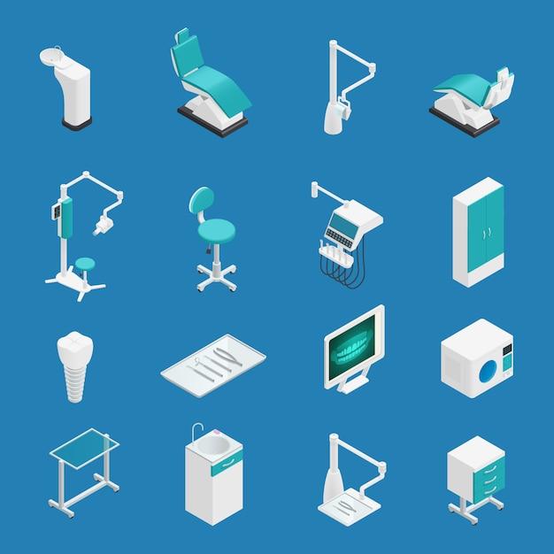 Isometrische ikone der farbigen stomatologiezahnheilkunde stellte mit attributen und elementen für arbeitsvektorillustration ein Kostenlosen Vektoren