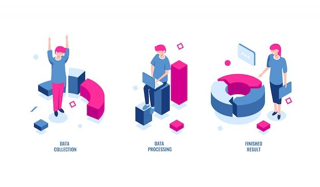 Isometrische ikone der geschäftsstatistik, datenerfassung und datenverarbeitung, endergebnis Kostenlosen Vektoren