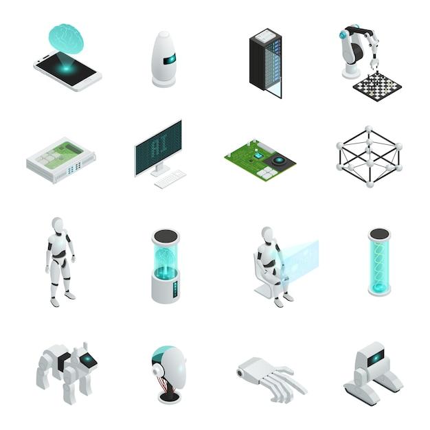 Isometrische ikone der künstlichen intelligenz eingestellt mit elektronik und neuen technologien im menschlichen leben Kostenlosen Vektoren