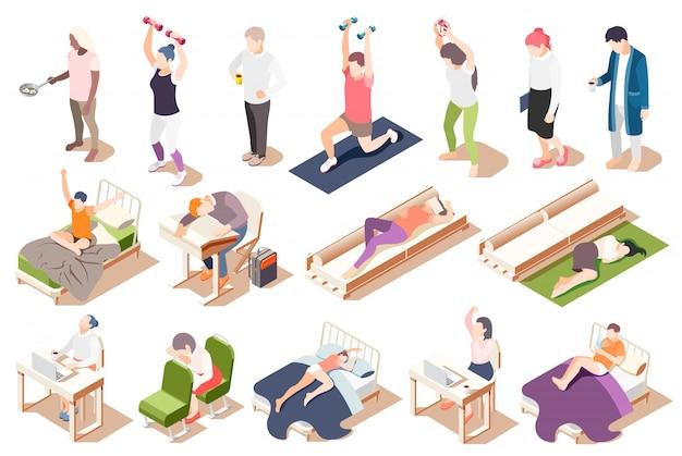 Isometrische ikone der menschlichen circadianen rhythmen stellte mit ermüdungsmangel der schlafmüdigkeitsillustration ein Kostenlosen Vektoren