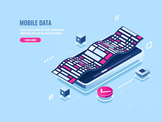 Isometrische ikone der programmierung der mobilen software, entwicklungsanwendung des mobiltelefons Kostenlosen Vektoren