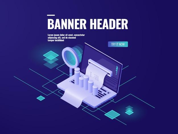 Isometrische ikone der verarbeitung und analyse der großen daten, intelligente geschäftstechnologie Kostenlosen Vektoren