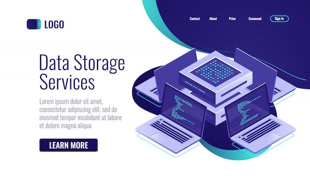 Isometrische ikone des computernetzes, künstliche intelligenz des konzeptes Kostenlosen Vektoren