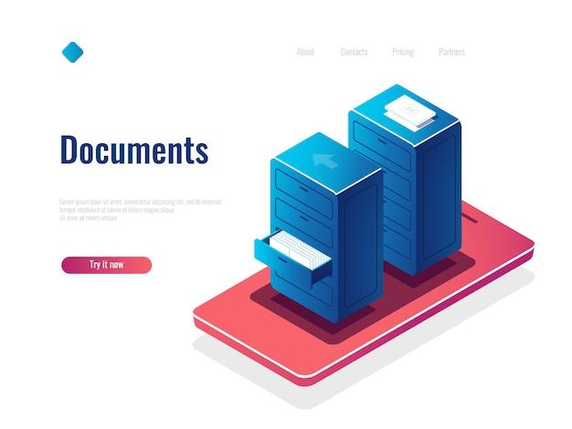 Isometrische ikone des dokumentenmanagements, kabinett mit dokumenten, online-dateimanager, cloud-datenspeicherung Kostenlosen Vektoren