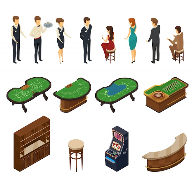 Isometrische ikone des farbigen und lokalisierten kasinos eingestellt mit hallenmöbeln und servicepersonal Kostenlosen Vektoren