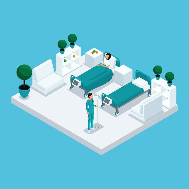 Isometrische ikone des krankenhausgebäudes mit vielen geschossen Premium Vektoren