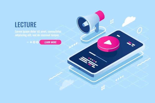 Isometrische ikone des on-line-vortrags, internetkursuhr auf handy, spielknopf auf bildschirm Kostenlosen Vektoren