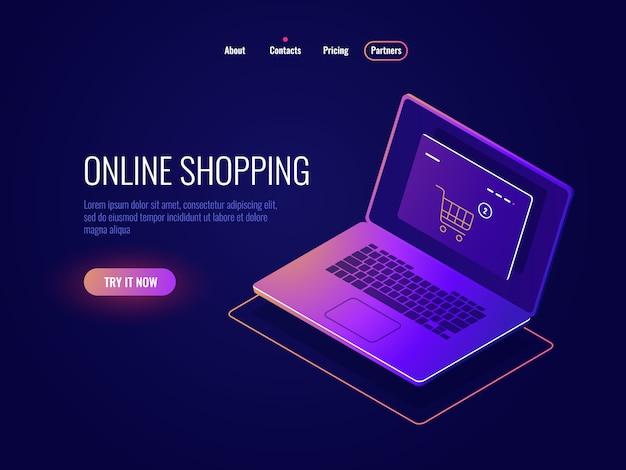 Isometrische ikone des online-internet-einkaufs, website-kauf, laptop mit online-shop-seite, dunkler laptop Kostenlosen Vektoren