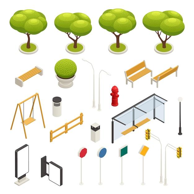 Isometrische ikone des stadtplanelementkonstruktors schwingt verkehrszeichen bäume bänke bushaltestelle vektorillustration Kostenlosen Vektoren