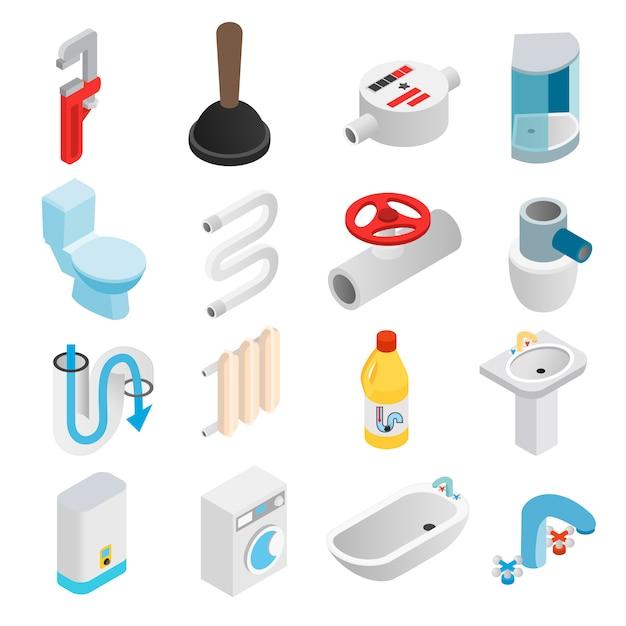Isometrische ikonen 3d der sanitärtechnik eingestellt Premium Vektoren