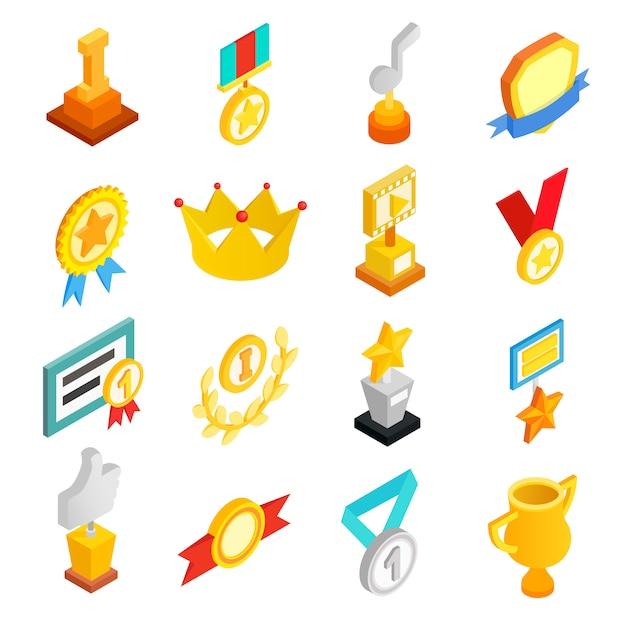 Isometrische ikonen 3d der trophäe und der preise eingestellt Premium Vektoren