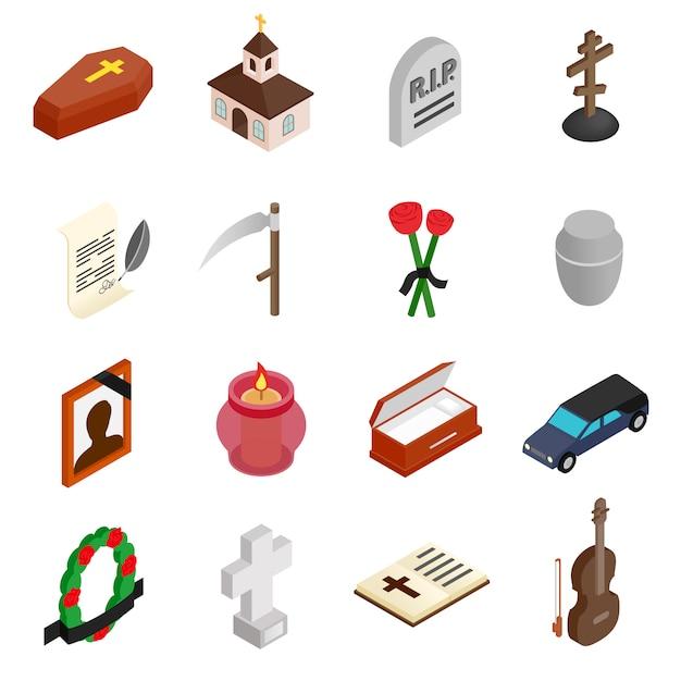 Isometrische ikonen 3d des begräbnisses und der beerdigung eingestellt Premium Vektoren