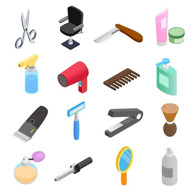 Isometrische ikonen 3d des friseursalons Premium Vektoren