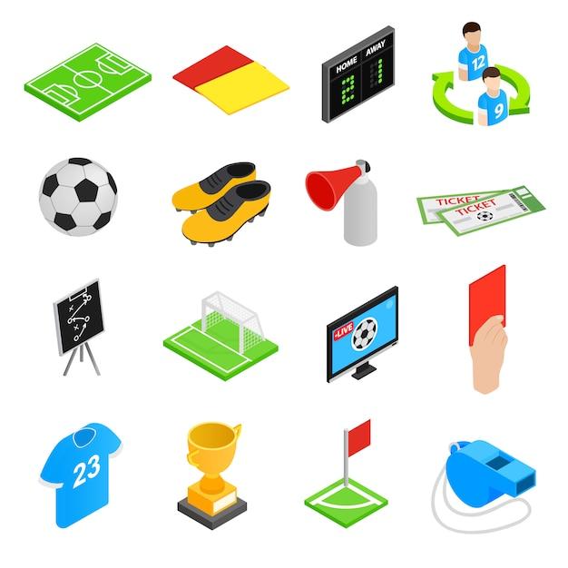 Isometrische ikonen 3d des fußballs eingestellt Premium Vektoren
