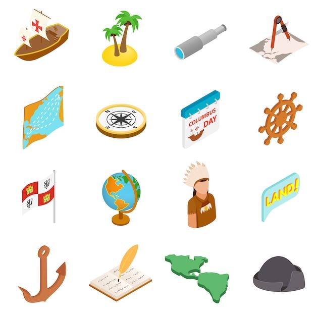 Isometrische ikonen 3d des glücklichen columbus days eingestellt Premium Vektoren