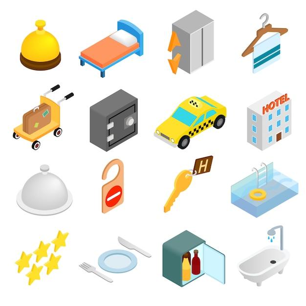 Isometrische ikonen 3d des hotels eingestellt Premium Vektoren