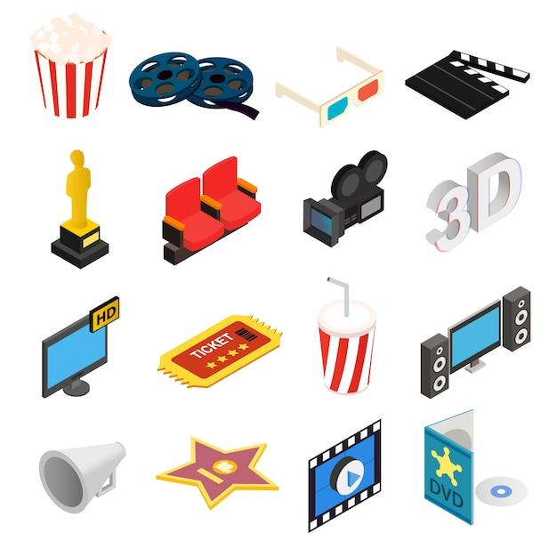 Isometrische ikonen 3d des kinos stellten lokalisiert auf weißem hintergrund ein Premium Vektoren