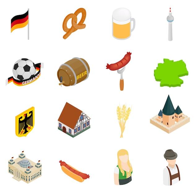 Isometrische ikonen 3d deutschlands eingestellt lokalisiert auf weißem hintergrund Premium Vektoren