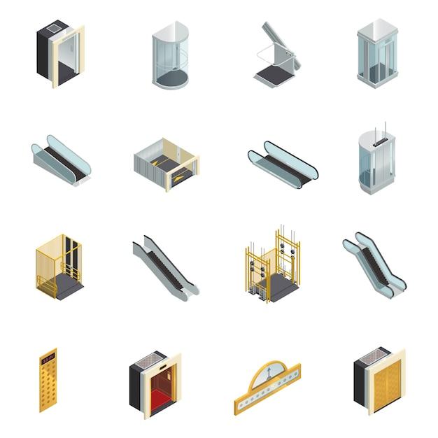 Isometrische ikonen der aufzugsaufzugrolltreppe eingestellt Kostenlosen Vektoren