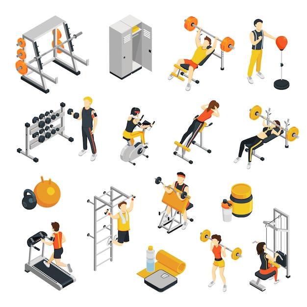 Isometrische ikonen der eignung stellten mit den leuten ein, die in der turnhalle unter verwendung der sportausrüstung ausbilden Kostenlosen Vektoren
