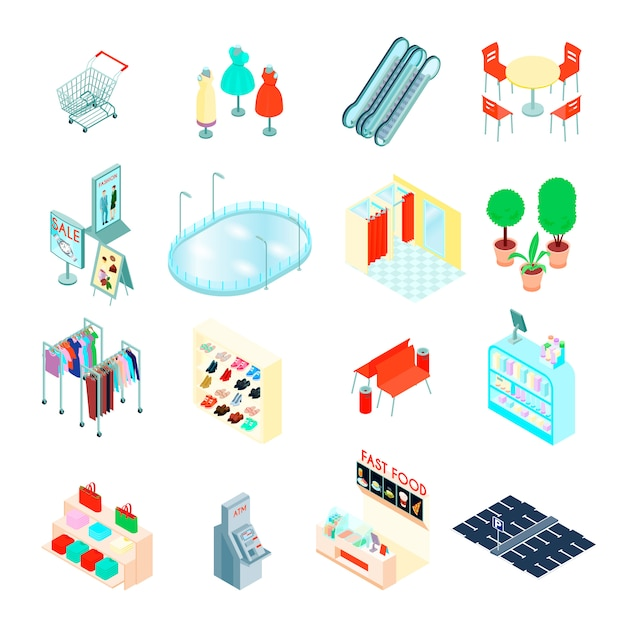 Isometrische ikonen der einkaufszentrumelemente eingestellt Kostenlosen Vektoren