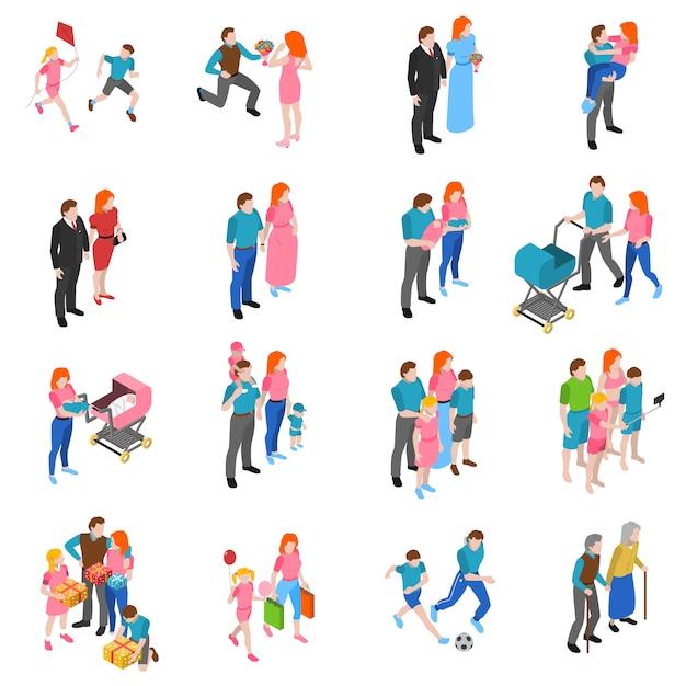 Isometrische ikonen der familienmenschen eingestellt Kostenlosen Vektoren