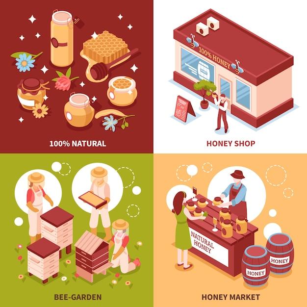 Isometrische ikonen der honigproduktion Kostenlosen Vektoren