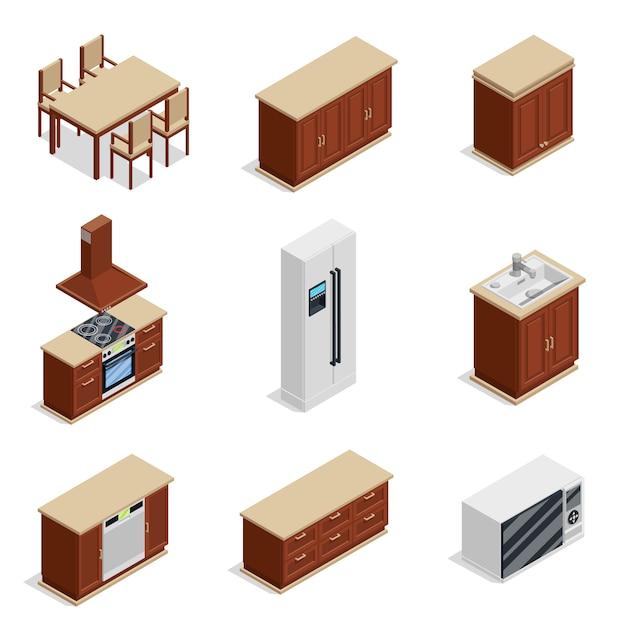 Isometrische ikonen der küchenmöbel eingestellt Kostenlosen Vektoren
