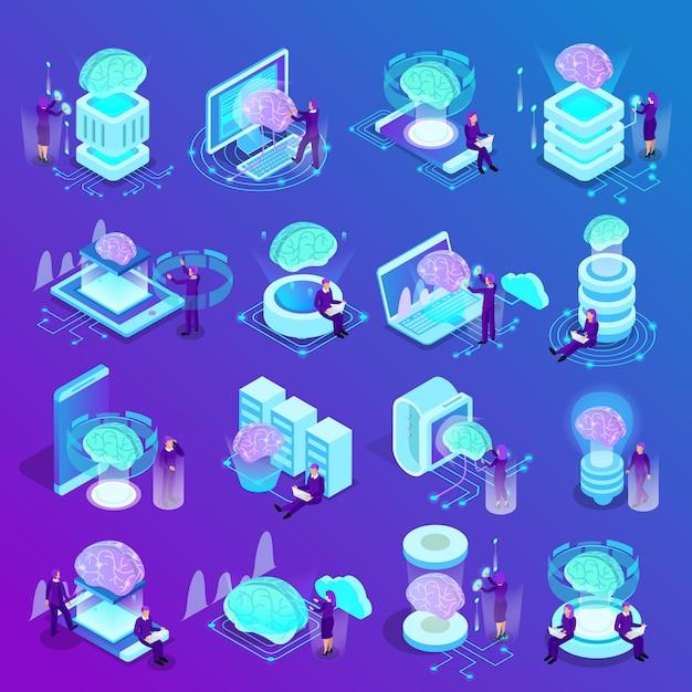 Isometrische ikonen der künstlichen intelligenz eingestellt von der datenverarbeitungsmaschinenprogrammierung der intelligenten uhren des glühengehirns wolke Kostenlosen Vektoren