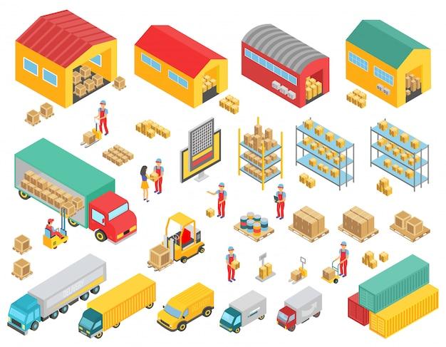 Isometrische ikonen der logistik, die mit isolierten vektorillustrationen der lastwagen, gebäude, lagerhäuser und personensymbole eingestellt werden Premium Vektoren