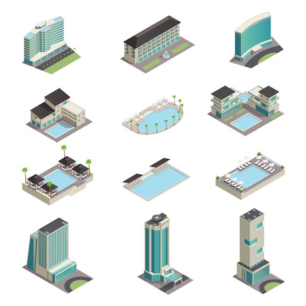 Isometrische ikonen der luxushotelgebäude Kostenlosen Vektoren