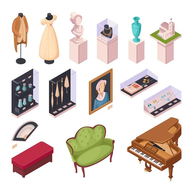 Isometrische ikonen der museumsausstellung eingestellt Kostenlosen Vektoren