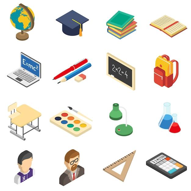 Isometrische ikonen der schule eingestellt Kostenlosen Vektoren