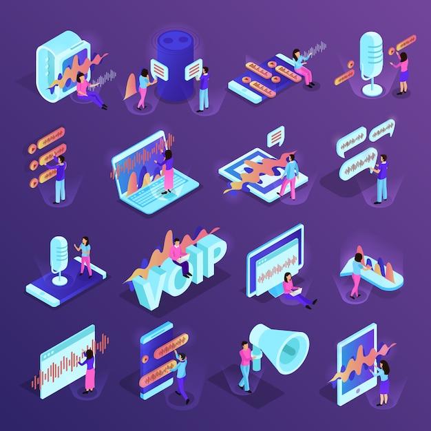Isometrische ikonen der sprachsteuerung eingestellt von den verschiedenen geräten für intelligentes haus und von persönlichen geräten, welche die sprachverwaltungsprogramme lokalisiert unterstützen Kostenlosen Vektoren