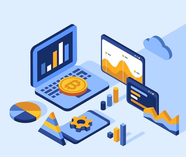 Isometrische ikonen der technologie der künstlichen intelligenz Premium Vektoren