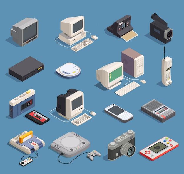 Isometrische ikonen der verschiedenen retro- geräte stellten mit der computer-spieler-recorder-konsolentelefonkamera 3d lokalisiert ein Kostenlosen Vektoren
