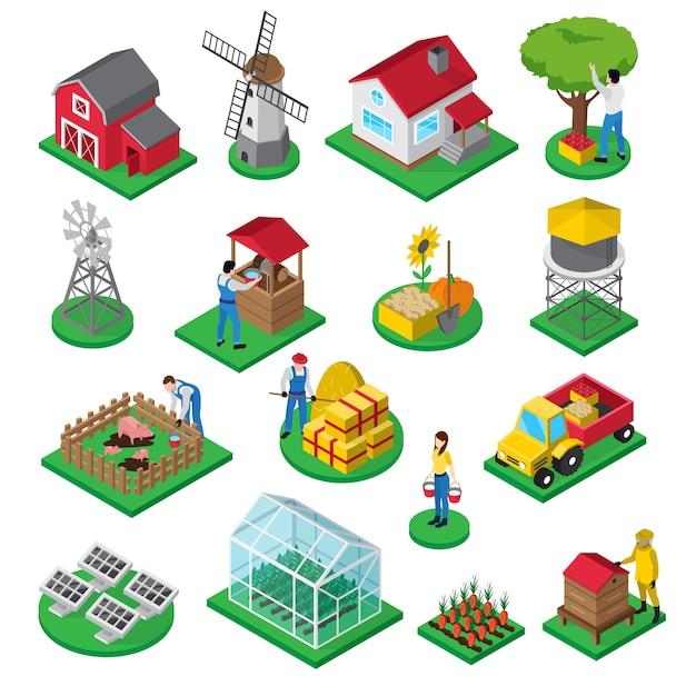 Isometrische ikonen des bauernhofes stellten mit bauernhauswindmühlenobstgartengewächshausbienenstock und hofanlagearbeitern ein Kostenlosen Vektoren