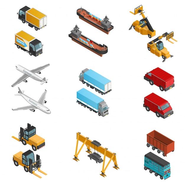 Isometrische ikonen des frachtverkehrs eingestellt Kostenlosen Vektoren