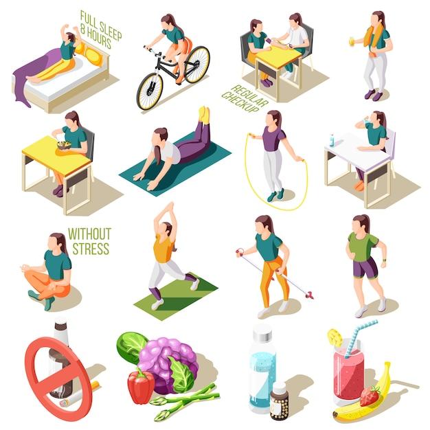Isometrische ikonen des gesunden lebensstils guter schlaf und regelmäßige ernährung überprüfen isolierte illustration der sportaktivität Kostenlosen Vektoren