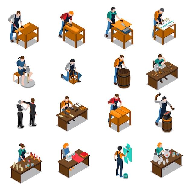 Isometrische ikonen des handwerkers eingestellt Kostenlosen Vektoren
