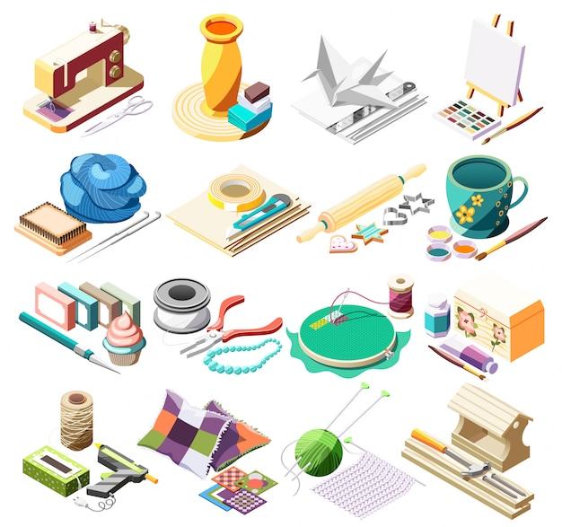 Isometrische ikonen des hobbyhandwerks stellten mit werkzeugen für das nähen der tonwarenmalerei ein, die das origamipatchwork 3d lokalisiert kocht Kostenlosen Vektoren