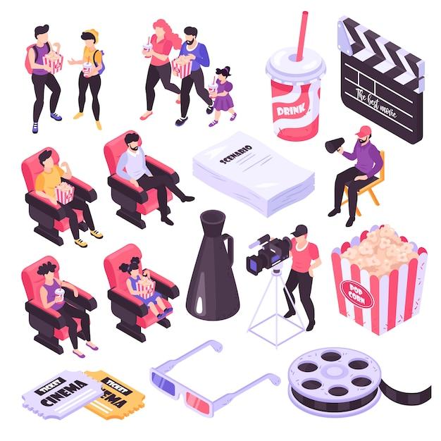 Isometrische ikonen des kino- und filmschießens stellten lokalisiert auf weißer illustration des hintergrundes 3d ein Kostenlosen Vektoren