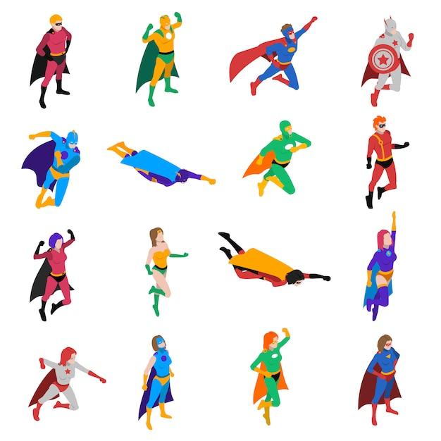 Isometrische ikonen des superhelden-populären charakters eingestellt Kostenlosen Vektoren