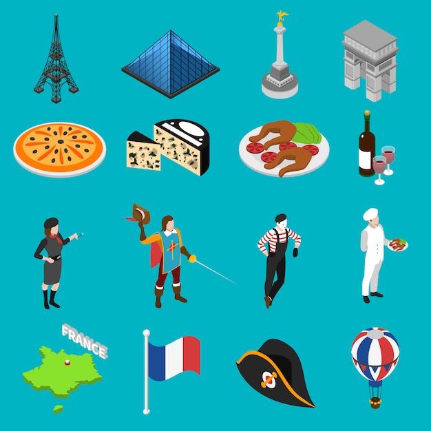 Isometrische ikonen-sammlung der französischen kultur-traditionen Kostenlosen Vektoren