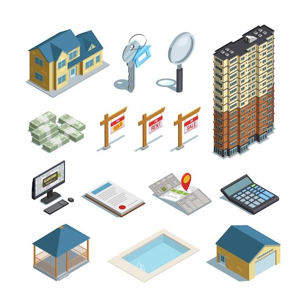 Isometrische ikonen-sammlung der immobilien Kostenlosen Vektoren