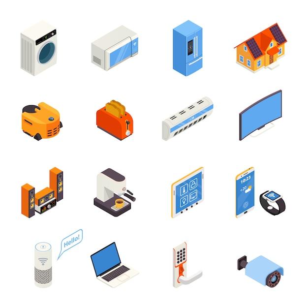 Isometrische ikonen-sammlung der intelligenten haupttechnologie Kostenlosen Vektoren