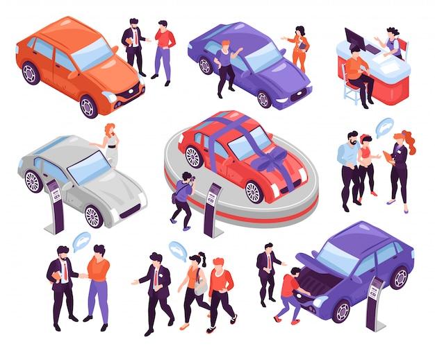 Isometrische ikonen stellten mit den leuten ein, die autos im ausstellungsraum besprechen und wählen, der auf weißer illustration des hintergrundes 3d lokalisiert wurde Kostenlosen Vektoren